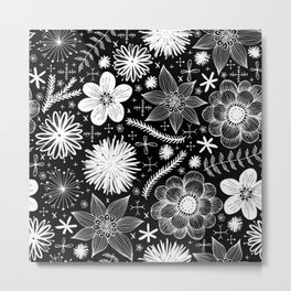 white flowers on black Metal Print