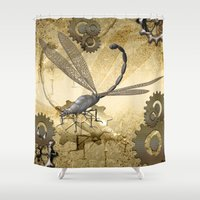 steampunk Shower Curtains featuring Steampunk, dragonflies by nicky2342
