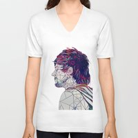 louis V-neck T-shirts featuring Geometric Louis by Peek At My Dreams