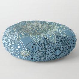 GOLDEN MANDALA ON BLUE Floor Pillow
