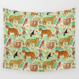 Wild And Wonderful Jungle Friends - Light Beige Background Wall Tapestry