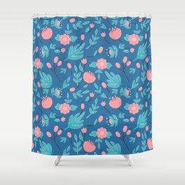 Blue florals Shower Curtain