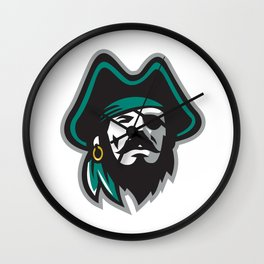 Pirate Wearing Eye Patch Tricorn Hat Front Wall Clock