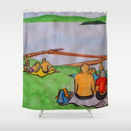 Dreaming of lazy summer afternoons on the banks of Lake Mälaren Shower Curtain