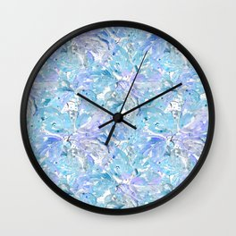 Blue and cornflower leaves. Wall Clock