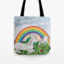 Unicorns, mother and child Tote Bag
