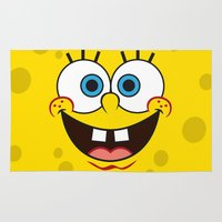 spongebob Area & Throw Rugs featuring SpongeBob Face by julien tremeau