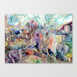Walking with Elephants Canvas Print