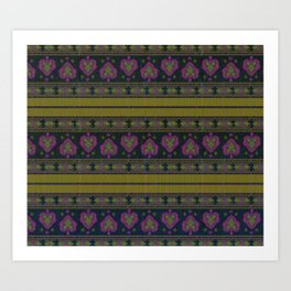 Persian Tapestry Blue and Gold  Art Print