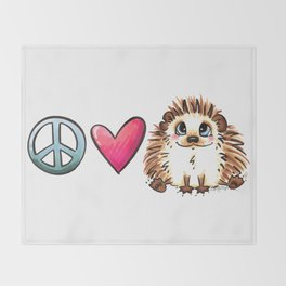Peace, Love and Hedgehogs Throw Blanket