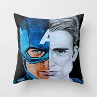 steve rogers Throw Pillows featuring Steve Rogers by Goolpia