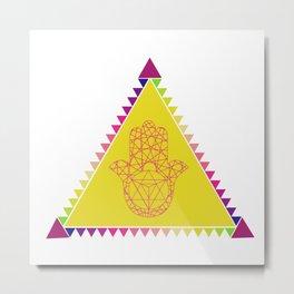 Merkaba Triangle Yellow Metal Print