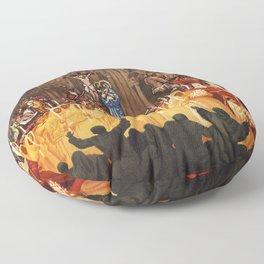 Italian travel ad Christian Easter procession Trapani Floor Pillow