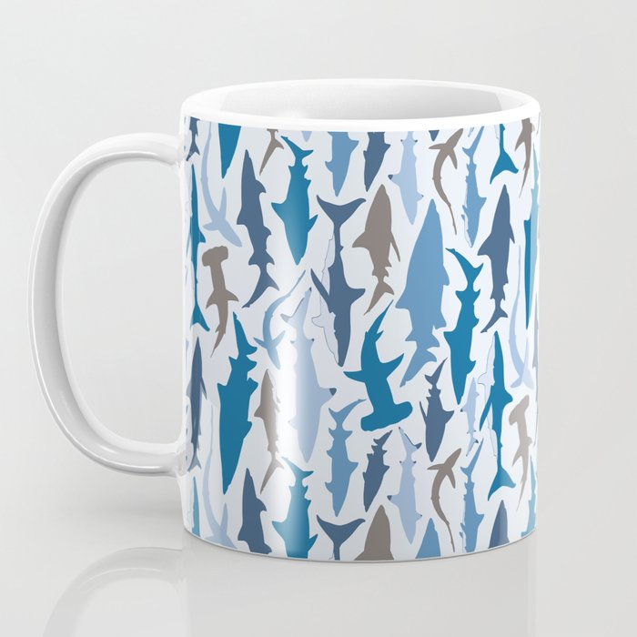 Swimming with Sharks in Blue and Grey Coffee Mug