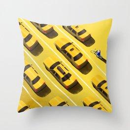 New York Cabs Throw Pillow