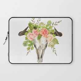 Bohemian bull skull and antlers with flowers Laptop Sleeve