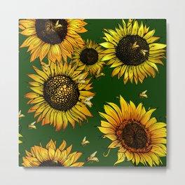 Buzzing Sunflowers  Metal Print