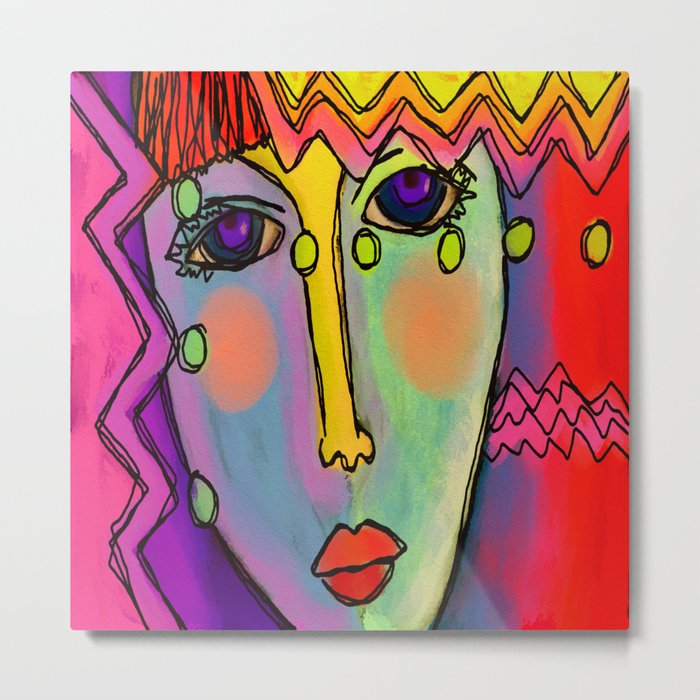 Colorful Abstract Digital Painting of a Woman Metal Print