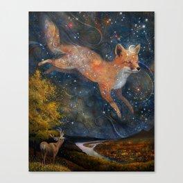 The Fox In The Starlight Canvas Print