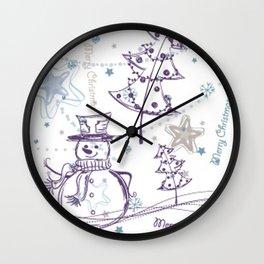 Christmas Elements Winter Snowman Sketch Pattern Wall Clock