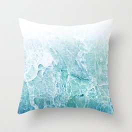 Sea Dream Marble - Aqua and blues Throw Pillow