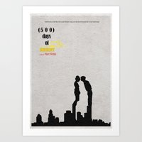 500 days of summer Art Prints featuring 500 Days of Summer by A Deniz Akerman