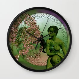 the mirrored fractal woman Wall Clock