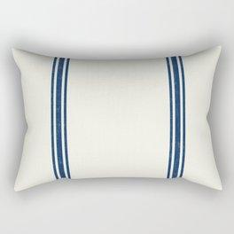 Blue Stripes on Creme background French Grainsack Distressed Country Farmhouse Rectangular Pillow