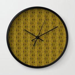 Ocre Lace Pattern Wall Clock