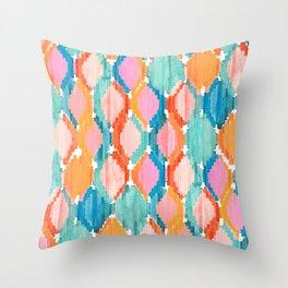 marmalade balinese ikat Throw Pillow