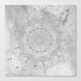 gray splash mandala swirl boho Canvas Print