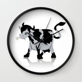 Cow chewing flower Wall Clock