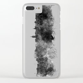 Lansing skyline in black watercolor Clear iPhone Case