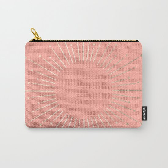 Simply Sunburst in White Gold Sands on Salmon Pink Carry-All Pouch