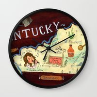 kentucky Wall Clocks featuring Kentucky by Christiane Engel
