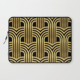 3-D Art Deco Sultry Cuban Nights Gold Pattern Laptop Sleeve