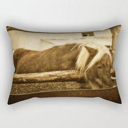 Mini Horse At The  Water Trough  Rectangular Pillow