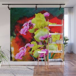 MODERN ABSTRACT YELLOW IRIS & PINK FLOWERS FLORAL Wall Mural