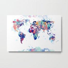 Coloful Splatter World Map Metal Print
