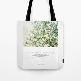 Quote Rilke Live the Questions Tote Bag