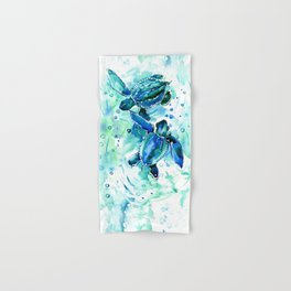 Turquoise Blue Sea Turtles in Ocean Hand & Bath Towel