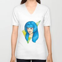 jem V-neck T-shirts featuring Aja - Jem and the Holograms by CatAstrophe