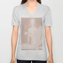 Abstract Woman Figure Unisex V-Neck