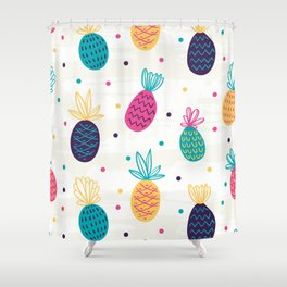 Stylized colorful pineapple pattern Shower Curtain