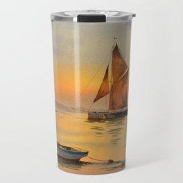 Thames Barge At Sunset Travel Mug