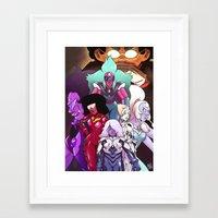 neon genesis evangelion Framed Art Prints featuring Neon Gem Evangelion by AMC Art