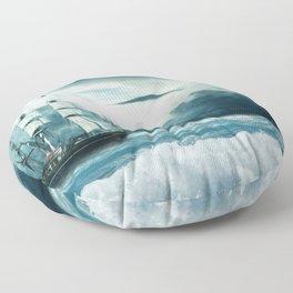 Blue Ocean Ship Storm Clouds Floor Pillow