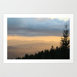 Breathtaking Mountain Sunset * Western North Carolina * Blue Ridges turn Golden Art Print
