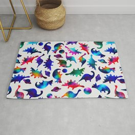 Rainbow Galaxy Watercolor Dinosaurs In Space Rug