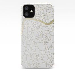 White on Yellow Gold London Street Map iPhone Case